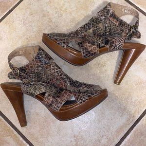 Crown Vintage platform snakeskin print heels